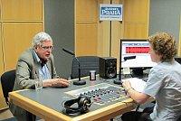 Томас Венцлова с Лоретой Вашковой в студии Радио Прага (Фото: Кристина Макова, Чешское радио - Радио Прага)
