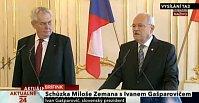 Президент ЧР Милош Земан и президент СР Иван Гашпарович (Фото: ЧТ24)