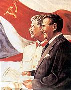 Клемент Готвальд (справа) и И.В.Сталин