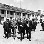 Олдржих Черник, Александр Дубчек, Леонид Брежнев и Йозеф Смрковский во время переговоров в Чьерной-над-Тисой, 18-го августа 1968 г.