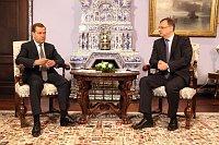 Петр Нечас и Дмитрий Медведев (Фото: Архив Правительства ЧР)