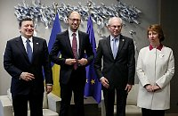 Жозе Баррозу, Арсений Яценюк, Херман Ван Ромпей и Кэтрин Эштон (Фото: ЧТК)