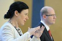 Министр Вера Йоурова и премьер-министр Богуслав Соботка (Фото: Филип Яндоурек, Чешское радио)