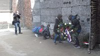Чешские узники при церемонии возложения венков к семейному лагерю