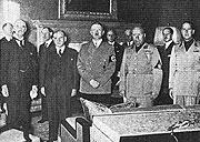 Слева: Невилл Чемберлен, Эдуард Даладье, Адольф Гитлер и Бенито Муссолини